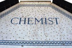 Chemist mosaic threshold, Rochester, Kent, England