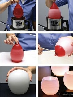 DIY luminaries. Perfect for home. Fill a good grade of balloon with warm water then dip it in colored wax, sit on surface to set and harden. Press leaves into wet wax if you want then dip again after set. From Krystal Scates