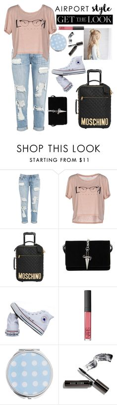 """AirportStyle"" by ashstylist101 on Polyvore featuring ONLY, Moschino, Cesare Paciotti, Converse, NARS Cosmetics, Miss Selfridge, Bobbi Brown Cosmetics, GetTheLook and airportstyle"