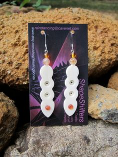 Sunstone and carved bone dangle earrings unique by HealingBones, $30.00