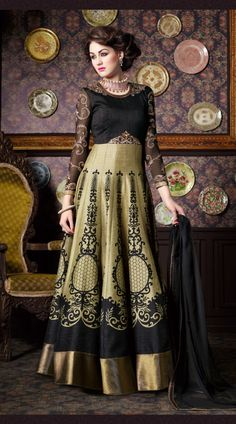 Glamorous Khaki Zurich Silk Digital Print Designer Anarkali Suit 2YS470298  Lovely khaki zurich silk floor length anarkali suit which is imposingly made with digital print, sequins, zari, embroidery and stone work. This attire comes with matching bottom and dupatta. This outfit can be stitched in the maximum bust size of 42 inches.