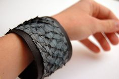 Leather Cuff, Leather Bracelet, fish leather Cuff in denim blue and black, Leather Band