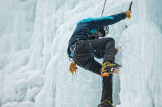 A group of hearty people brave the cold for some weekend ice climbing.
