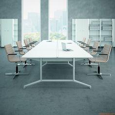 Office X2 Meet XL | Tavolo da riunione con struttura verniciata color bianco e laminato in finitura bianco, 240x124 cm