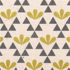 natural canvas flower fabric green Kokka Japan Garden 1