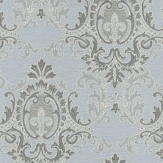 Blue and Gray Damask Fabric by the Yard | Carousel Designs 500x500 image