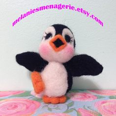 Felted Dancing Penguin with Valentine by MelaniesMenagerie on Etsy