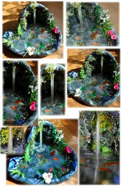 OOAK Mirror Grotto by Forestina-Fotos on deviantART Diy Resin Crafts, Polymer Clay Projects, Diy Clay, Diy And Crafts, Miniature Crafts, Miniature Fairy Gardens, Fairy Crafts, Clay Fairies, Polymer Clay Miniatures