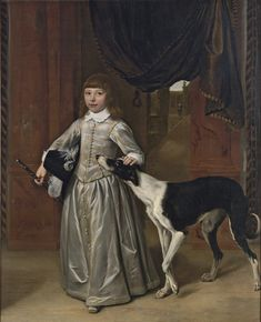 Ludolf de Jongh (Overschie Hillesberg) Portrait of a boy, full-length, in a gold-embroidered grey costume with a feathered hat and a cane, his hand on the head of a lurcher, with a garden seen through the door behind Almond Shaped Eyes, Greyhound Art, Dutch Golden Age, Lurcher, Museum Of Fine Arts, Historical Clothing, Little Man, Metropolitan Museum, Boy Fashion