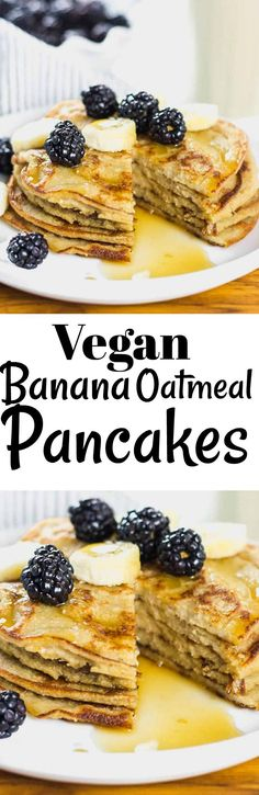 These fluffy and moist Vegan Banana Oatmeal Pancakes are so easy to prepare and they are delicious. They are made with simple ingredients including gluten-free rolled oats. #veganrecipes #glutenfree #pancakes #breakfast