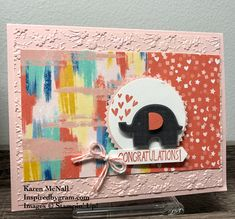 The Elephant Builder Punch and Little Elephant stamp set is retiring and so is the Starburst Circle Punch and Follow Your Art Designer Series Paper. These items are all used in this cute Welcome Baby cards.
