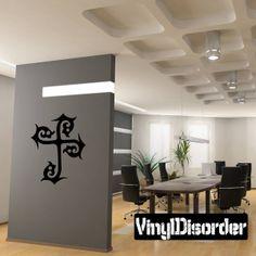 Swirl Thorn Cross Wall Decal - Vinyl Decal - Car Decal - DC104