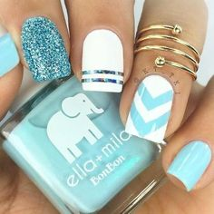 Make your short nails even more beautiful & colorful with Short Gel Nail Art designs. Here are the best Gel Nail Art designs for short nails. Nagellack Design, Nagellack Trends, Bright Nail Art, Nail Art Blue, Bright Blue Nails, Blue And White Nails, Bright Colors, Bright Nails For Summer, Baby Nail Art