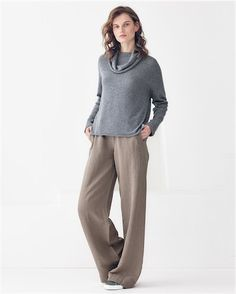 Stunning in its simplicity, these paired slacks and cowl neck jumper are practical comfort wear. The colours complement one another. A beautiful look transcending all areas of life; work or play. #MyPoetryFavourites #PoetryFashion  Poetry - Pure cashmere cowl-neck sweater - This pure cashmere sweater has a cosy, slouchy cowl neck and neat fitting sleeves with an easy boxy fit. Trimmed with subtle ribbed stitch at the side and across the yoke, its destined to be a favourite. 100% cashmere