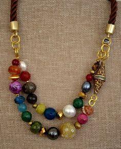 fbde788ba94a collares con piedras de colores - Buscar con Google Collar De Cuero