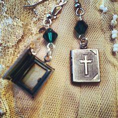 Prayer book locket earrings by gigideluxe on Etsy, $25.00