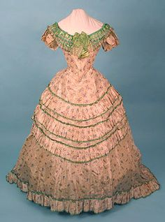 Ballgown, 1868 -- More ice cream... A shame they corseted themselves so fiercely to obtain that figure.