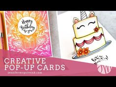 Today I am sharing how to create cards with a fun pop-up feature. No special dies are needed to do this technique! Fun Fold Cards, Pop Up Cards, Folded Cards, Art Birthday, Birthday Cards, Card Making Inspiration, Making Ideas, Jennifer Mcguire Ink, Slider Cards