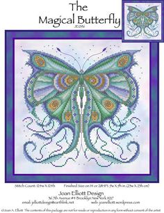 Joan Elliott Magical Butterfly - Cross Stitch Pattern. Model stitched on fabric of your choice with DMC floss, Kreinik #4 Braid, and Mill Hill Beads. Stitch Cou