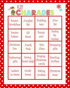 This is a fun & silly Christmas Charades game perfect for a family date night or for a children's Christmas party. Christmas Games To Play, Christmas Bingo Game, Xmas Games, Printable Christmas Games, Holiday Games, Christmas Activities, Holiday Fun, Christmas Games For Children, Christmas Traditions