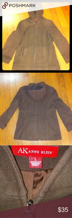 Sale! Brown Wool Anne Klein Coat Pictures do not do this one justice! Brown wool full zip coat with hood by Anne Klein. Shell is 80% wool 20% nylon. Lining is 100% polyester. Size large. Anne Klein Jackets & Coats Pea Coats
