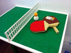 You really cannot play on this table tennis it's because it has been built out of Lego pieces. Ping Pong Room, Ping Pong Table Tennis, Ping Pong Games, Lego Sports, Construction Lego, Lego Furniture, Lego Club, Lego Games, Lego Table