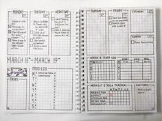 March set up bullet journal ideas including weekly spreads w Bullet Journal Printables, Bullet Journal Layout, Bullet Journal Inspiration, Bullet Journals, Bullet Journal Workout, Fitness Journal, Bullet Journal Water Tracker, Workout Log, Food Workout