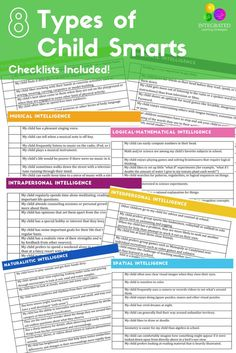 Intelligences Checklist: 8 Child Intelligences that Can Weaken or Strengthen a Child's Learning - Integrated Learning Strategies Fine Motor Activities For Kids, Sensory Activities, Infant Activities, Learning Tips, Learning Resources, Kids Learning, Emotional Development, Child Development, Professor