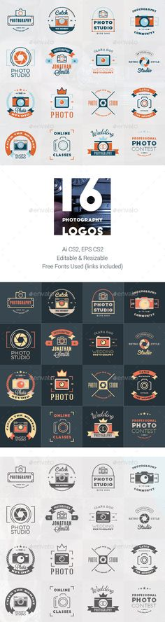 Set of 16 Photography Logos #design Download: http://graphicriver.net/item/set-of-16-photography-logos-/12922599?ref=ksioks
