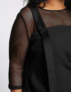 CURVE Half Sleeve Mesh Midi Dress