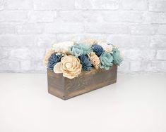 Flower Box Centerpiece, Wooden Box Centerpiece, Wood Centerpieces, Sola Wood Flowers, Felt Flowers, Dried Flowers, Unfinished Wood Boxes, Gender Reveal Party Decorations, Floral Foam