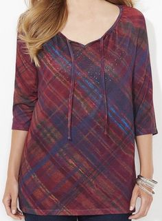 CATHERINES ILLUSION PLAID TOP - PLUS SIZE 3X (26/28W) #Catherines #Blouse
