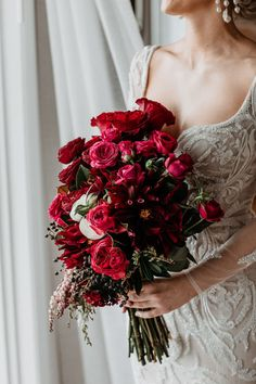 Just Married: Conor and Tim's Incredible Fins at Plantation House Wedding Burgundy Bouquet, Red Rose Bouquet, Red Bouquet Wedding, Red Wedding Flowers, Bride Bouquets, Wedding Colors, Red Orchids, Jewel Tone Wedding, Red Roses