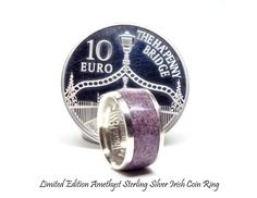 Unique coin ring. Amethyst ring, February birthstone rings, limited edition Irish silver coin ring.