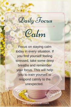 Having a daily focus is very simple and easy to do. It's a great way to incrementally introduce positive thoughts and new habits into your mind. Imagine how much your life would transform if you did this every day!