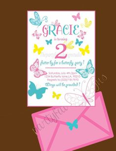 Beautiful Butterfly invitation , modern pink and teal butterfly invite so cute for a butterfly or garden party , party packages and birthday outfits also www.instagram.com/partiesbymia