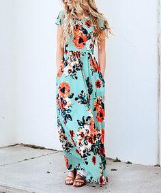 Mint Floral Short-Sleeve Maxi Dress