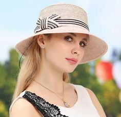 Striped bow straw hat for summer ladies wide brim uv sun protection hats