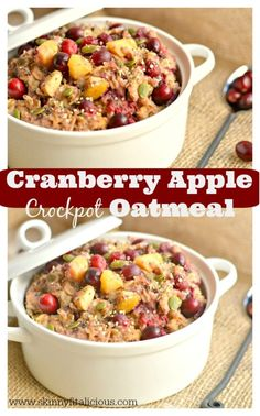 Packed with protein and super seeds, this thick & creamy Cranberry Apple Crockpot Oatmeal makes a delicious, no fuss breakfast. Throw the ingredients in a crockpot & have yourself dessert for breakfast!