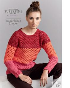 free, crochet, jumper, 8 ply, pattern, superfine, merino, Cleckheaton