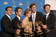Steve Carell, Jenna Fischer, Rainn Wilson, John Krasinski and B.J. Novak -John Krasinski and B.J. Novak went to high school together. They went to Newton South High School in Newton, MA and they both graduated in 1997.