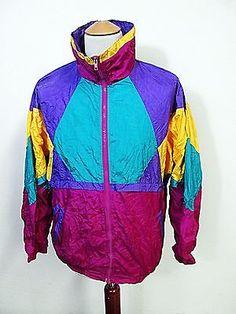 Vintage 90s Psychedelic Bright Slade Designer Mod Waterproof Shellsuit Jacket XL