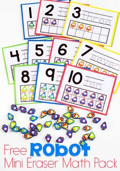 Preschool math is fun with this free printable rocket mini eraser math activity pack. Patterns, ten-frames, sorting and more! via @lifeovercs