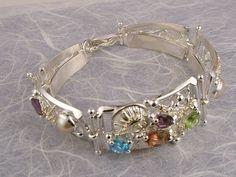Bracelet 3510, solid gold over sterling silver, pearls, blue topaz, amethyst, tourmaline, peridot
