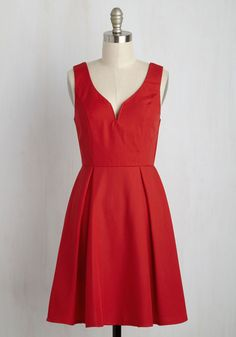 Beyond Your Wildflower Dreams Dress in Poppy - Red, Solid, Daytime Party, Sleeveless, Summer, Better, Mid-length, Woven, Variation, Valentine's, Minimal, Darling, Americana, Casual, Sundress, Nautical, Vintage Inspired, 50s, Fit & Flare