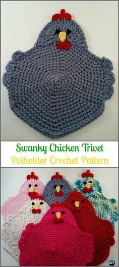 Crochet Swanky Chicken Trivet Potholder Paid Pattern -Easter Crochet Chicken Potholder Patterns