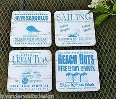 Set of 4 Nautical By the Sea Coasters by Martin Wiscombe White and Blue | Lavender White
