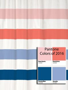 Shower Curtain Stripes in Pantone Colors of 2016!