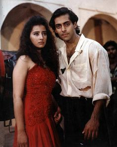 Salman Khan with Manisha Koirala Salman Khan Wallpapers, Salman Khan Photo, Cute Celebrity Couples, Sajid Khan, Movie Teaser, Mahira Khan, Ethereal Beauty, Indian Movies, Picture Collection