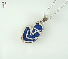 Women's Sterling Silver Tiny Natural Lapis Mosaic Mother and Baby Pendant Necklace 16'' Chain - Bridesmaid gifts (*Amazon Partner-Link)